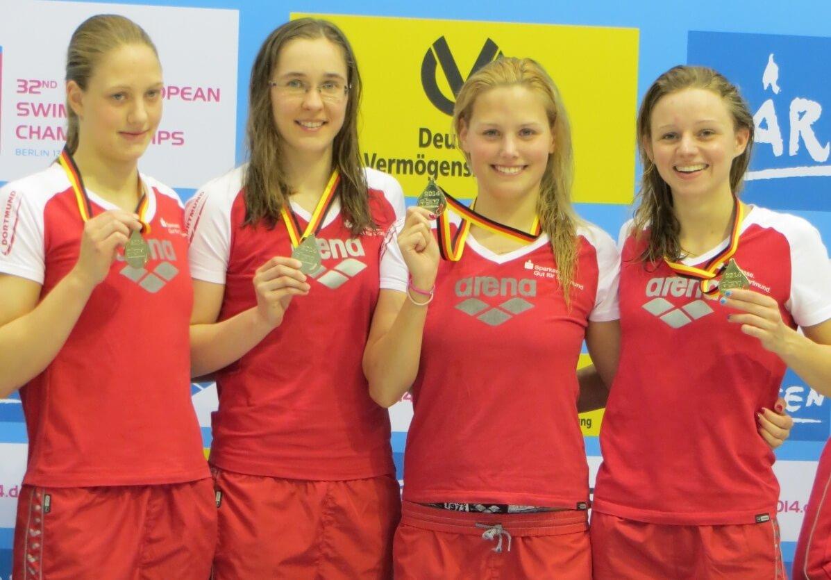 4x100 Freistil SG-Dortmund (Alina Weber, Kerstin Lange, Denise Gruhn, Hannah Freiwald), Foto: Heike Hundshagen